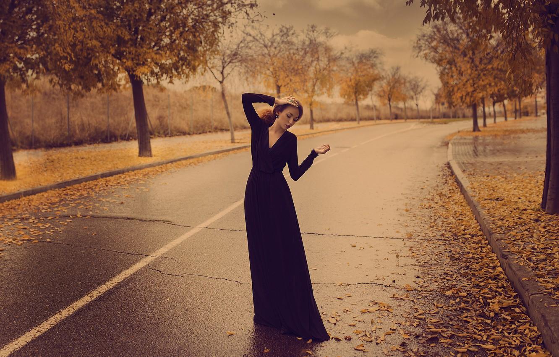 Photo wallpaper autumn, girl, pose, street, dress