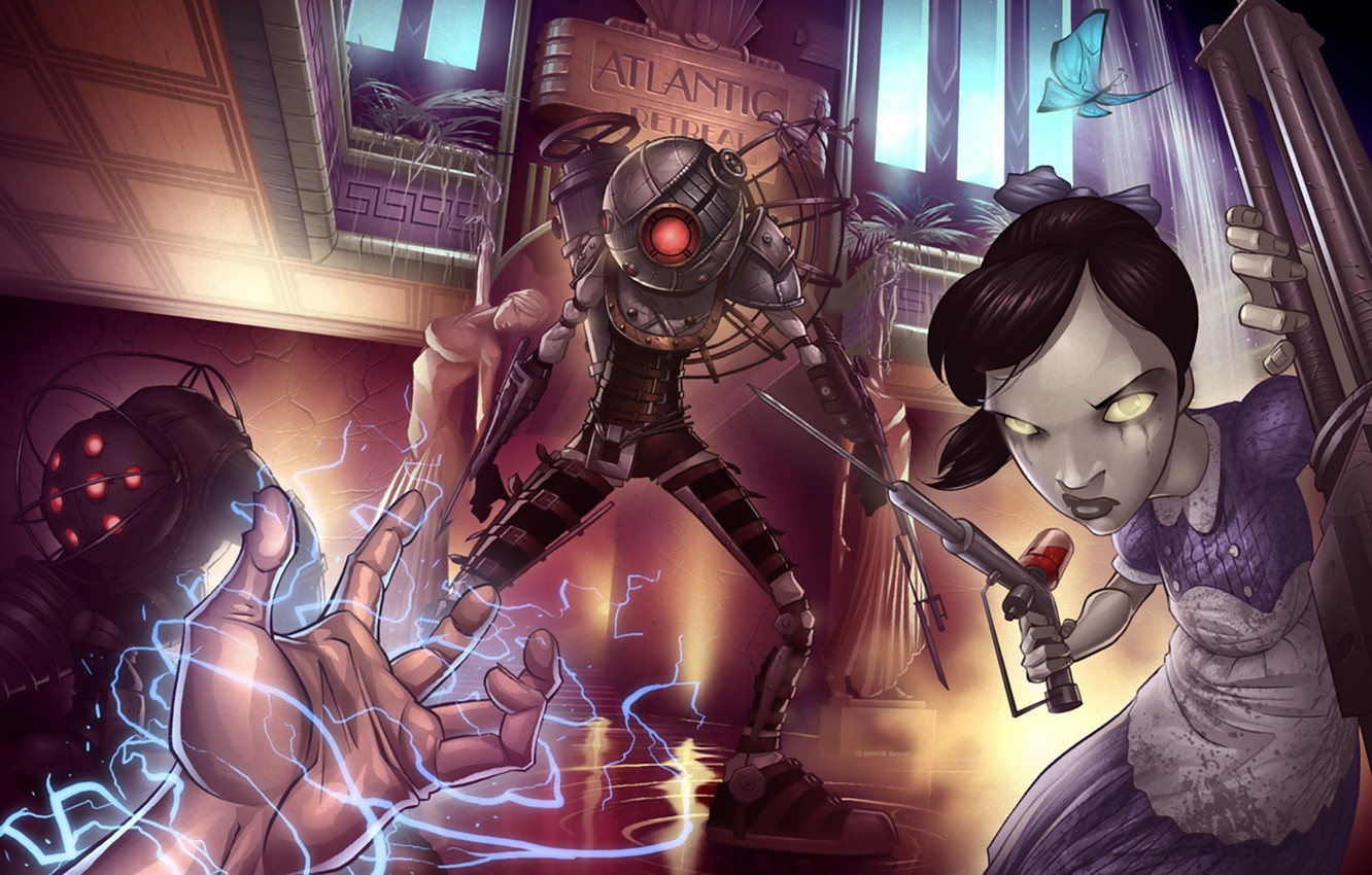 photo wallpaper bioshock 2 little sister art patrick brown 2k games