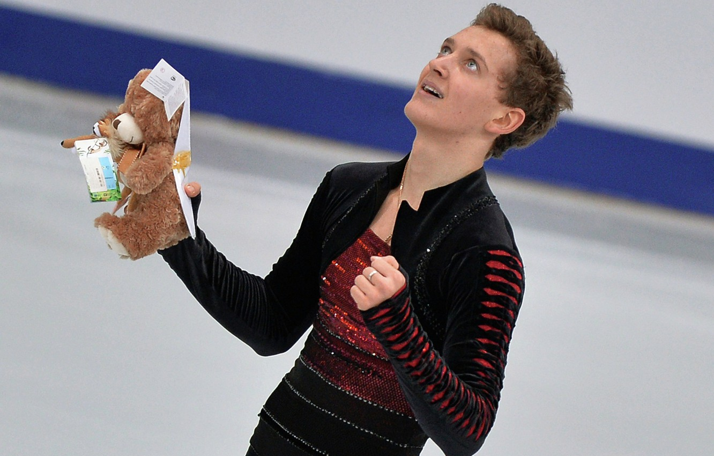 Photo wallpaper joy, toy, figure skating, the winner, skater, Maxim Kovtun, champion of Russia