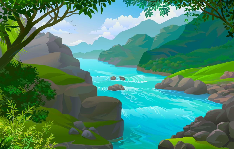 Photo wallpaper water, nature, river, shore