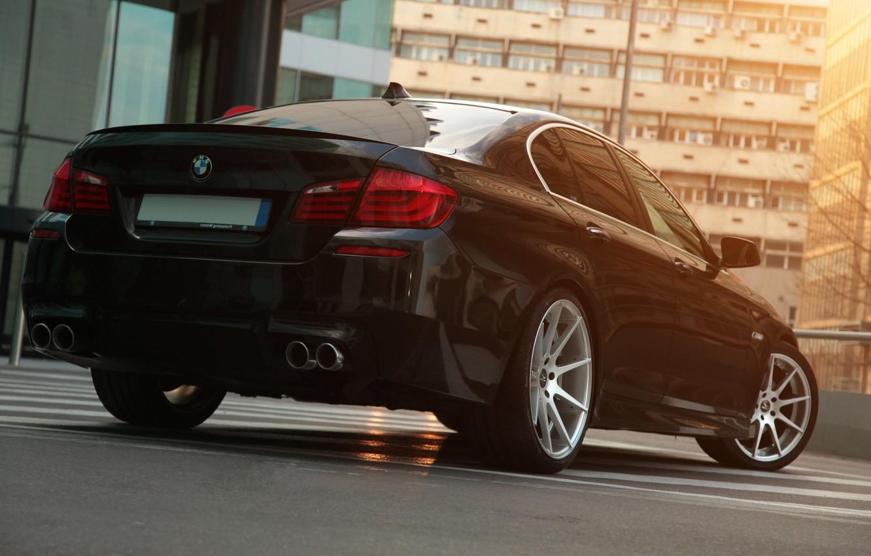 Photo wallpaper BMW, Black, Bumper, BMW, Lights, F10, Deep Concave