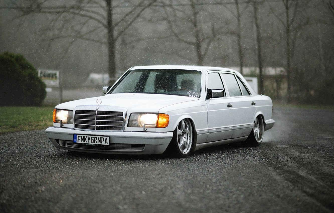 Photo wallpaper white, rain, Mercedes-Benz, Mercedes, low, stance, SEL, W126, Executive