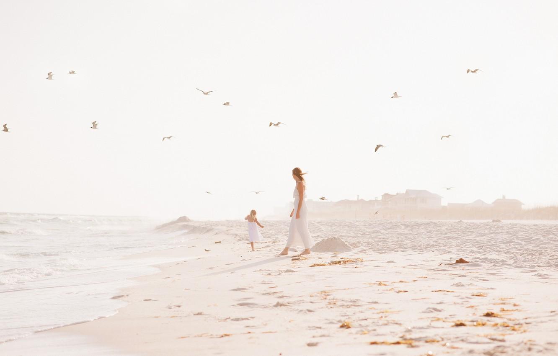 Photo wallpaper sand, beach, girl, girl