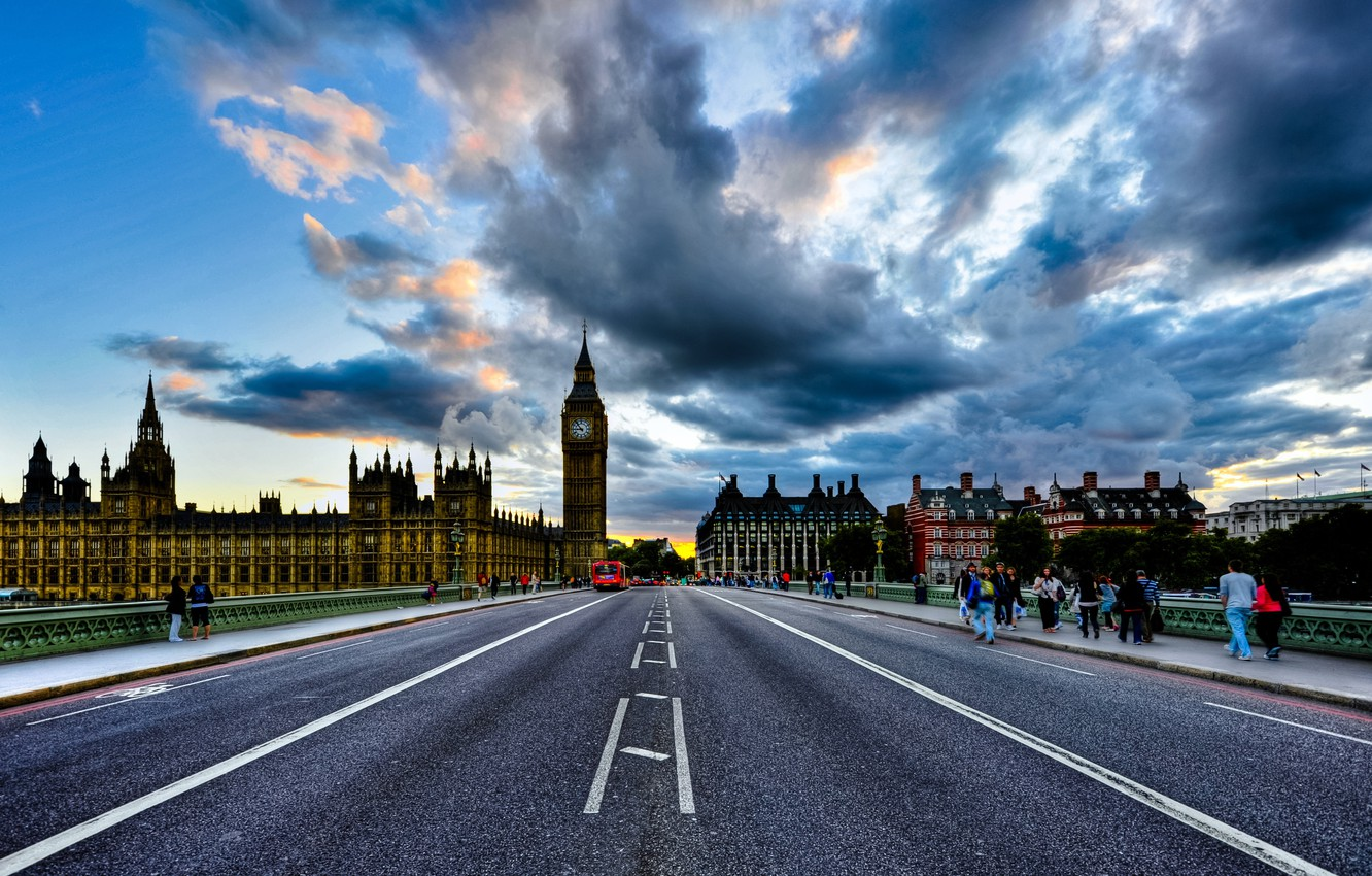 Photo wallpaper England, London, big ben, clouds, London, England, houses of parliament, Westminster Palace