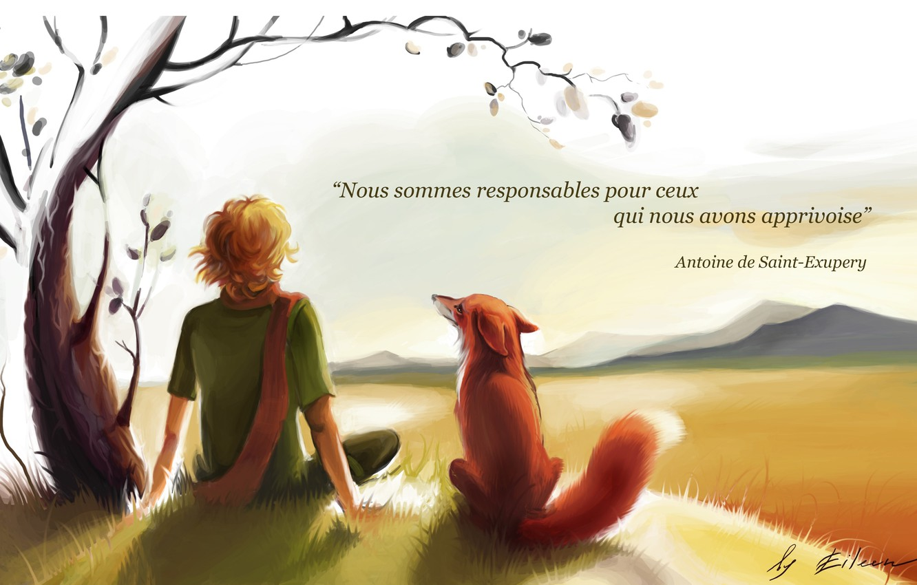 Photo wallpaper boy, Fox, the little prince, the little Prince, Exupery