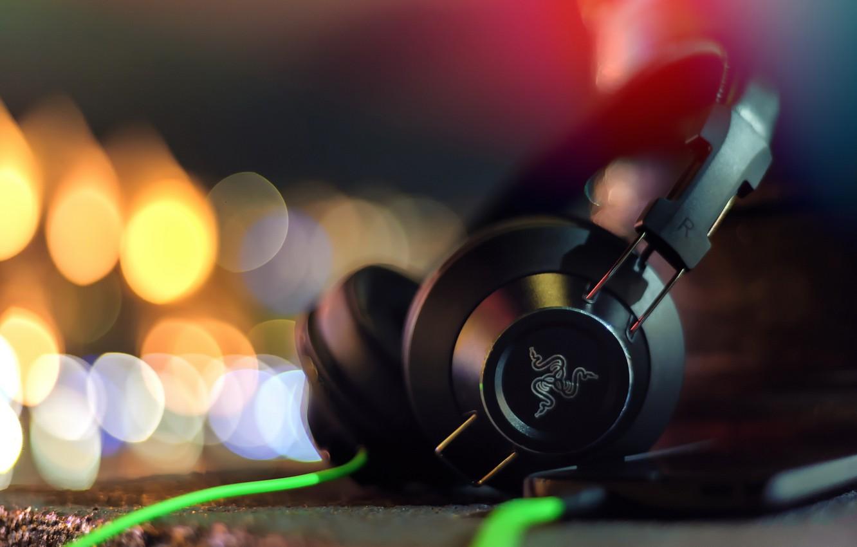 Wallpaper macro, headphones, Razer, hi-tech, Adaro, stereo
