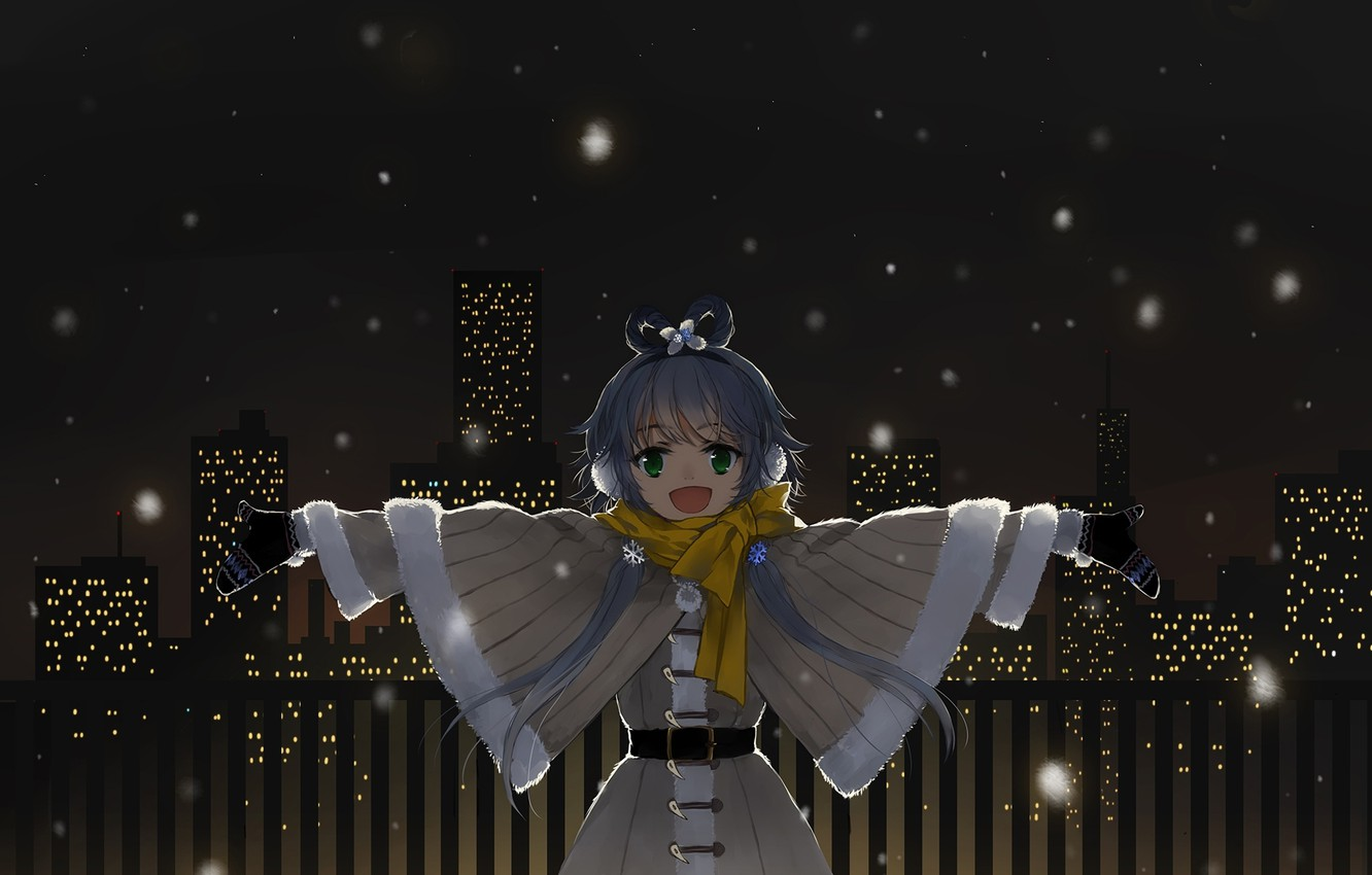 Photo wallpaper girl, snow, snowflakes, the city, lights, home, anime, headphones, scarf, art, vocaloid, Vocaloid, mittens, ink, …