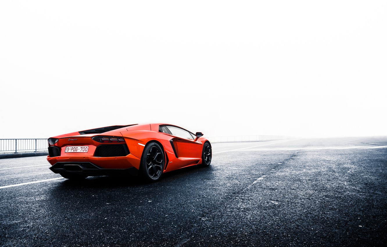 Photo wallpaper orange, Lamborghini, Lamborghini, rear, orange, LP700-4, Aventador, aventador, LB834
