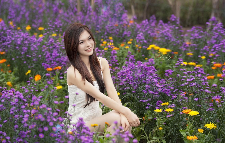 Photo wallpaper summer, girl, flowers