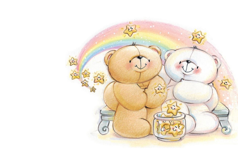 Photo wallpaper night, rainbow, stars, art, bear, pair, date, children's, Forever Friends Deckchair bear