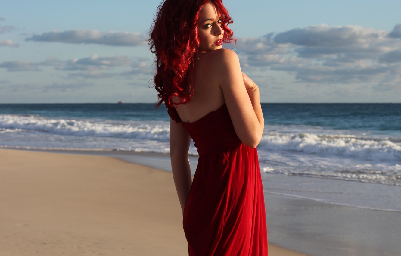 Photo wallpaper sea, wave, beach, look, girl, face, red dress, red hair