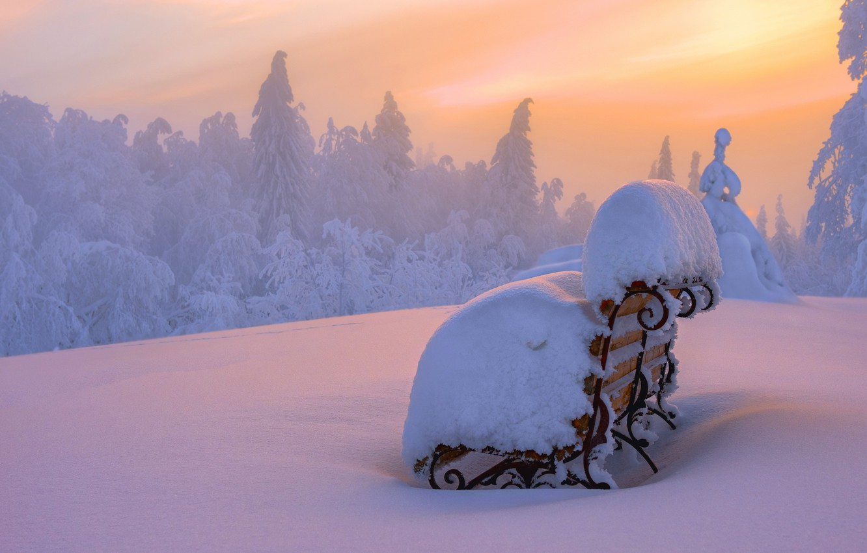 Photo wallpaper winter, snow, landscape, sunset, bench