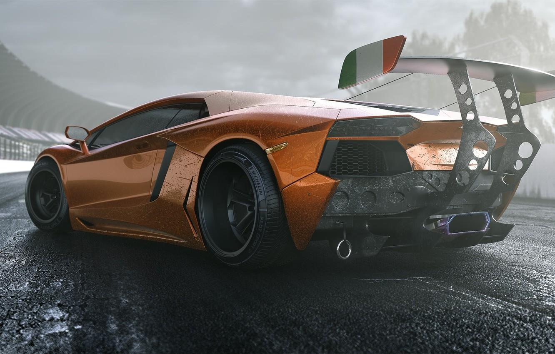 Photo wallpaper Lamborghini, Tuning, LP700-4, Aventador, Supercar, Wheels, Track, Spoiler, DRAG