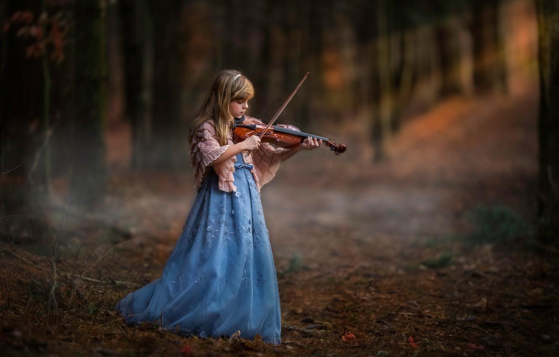 Photo wallpaper forest, violin, girl
