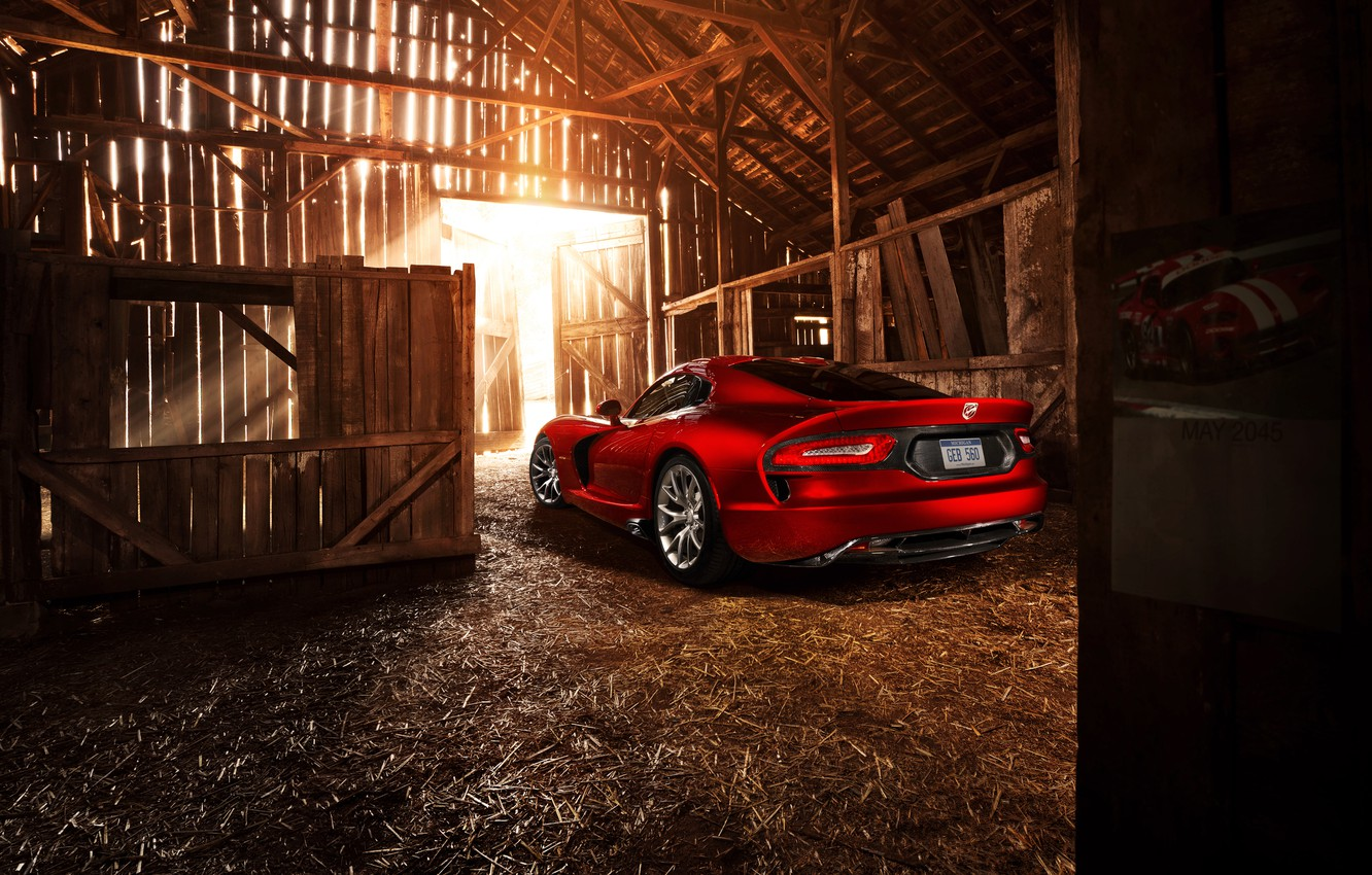 Photo wallpaper the sun, light, red, the barn, Dodge, light, red, the barn, Dodge, Viper, sun, GTS, …