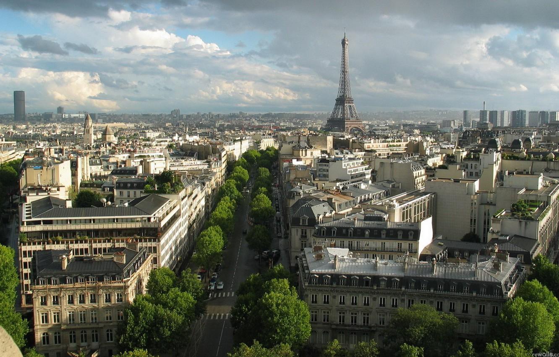 Photo wallpaper the city, Eiffel tower, Paris, France, street