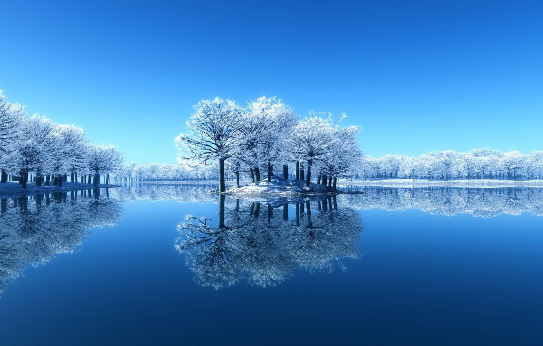 Photo wallpaper winter, snow, trees, lake, reflection, Nature