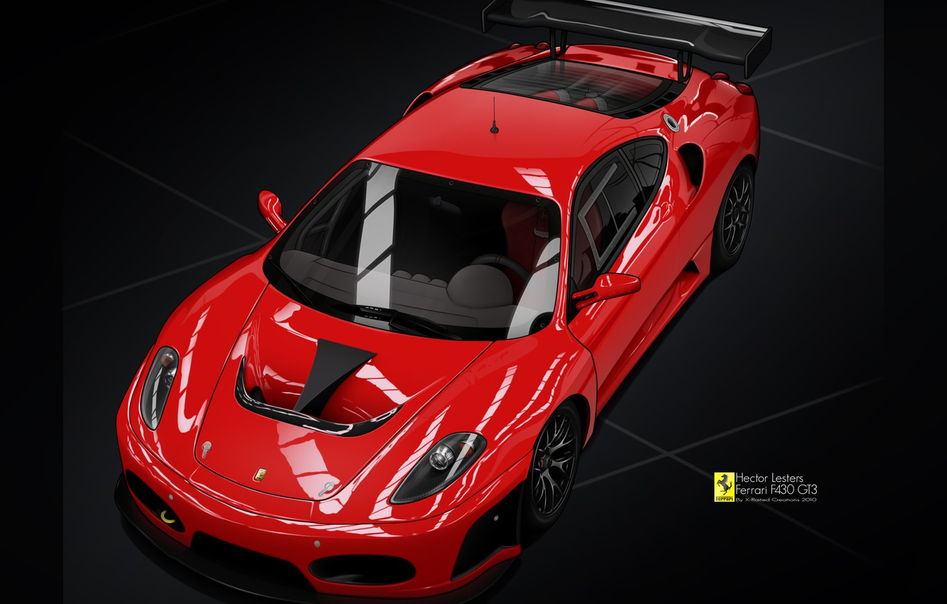 Photo wallpaper vector, Ferrari F430, red, drawing