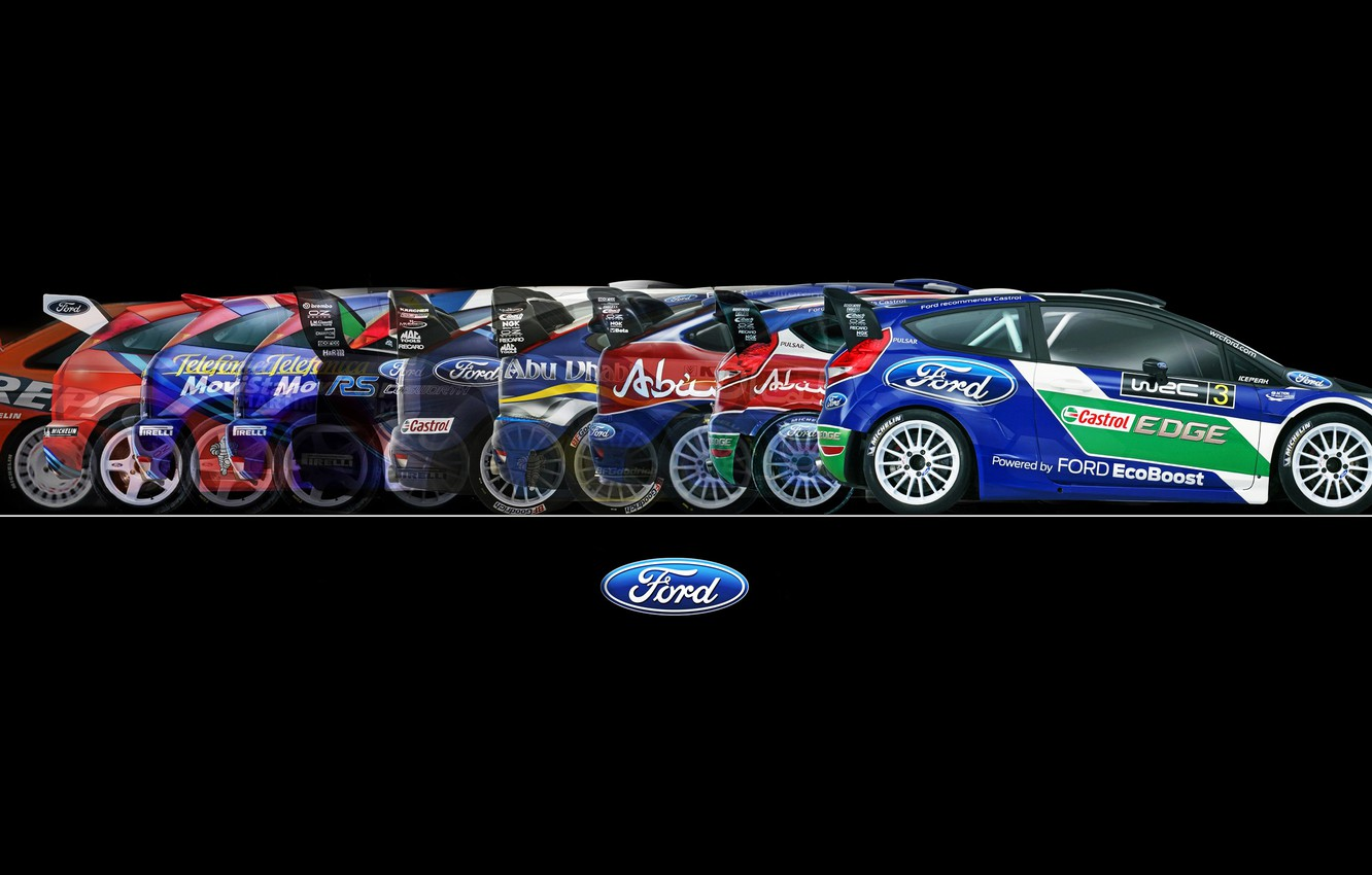 Photo wallpaper Ford, Auto, Sport, Machine, Ford, Background, WRC, Rally, Rally, Side view, 50 years