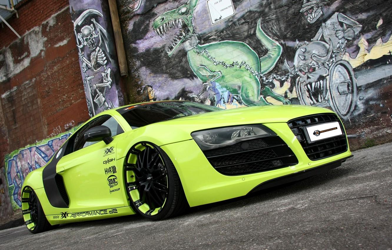 Photo wallpaper background, wall, Audi, tuning, Audi, green, supercar, grafiti, tuning, the front, V10, B10, XXX Performance