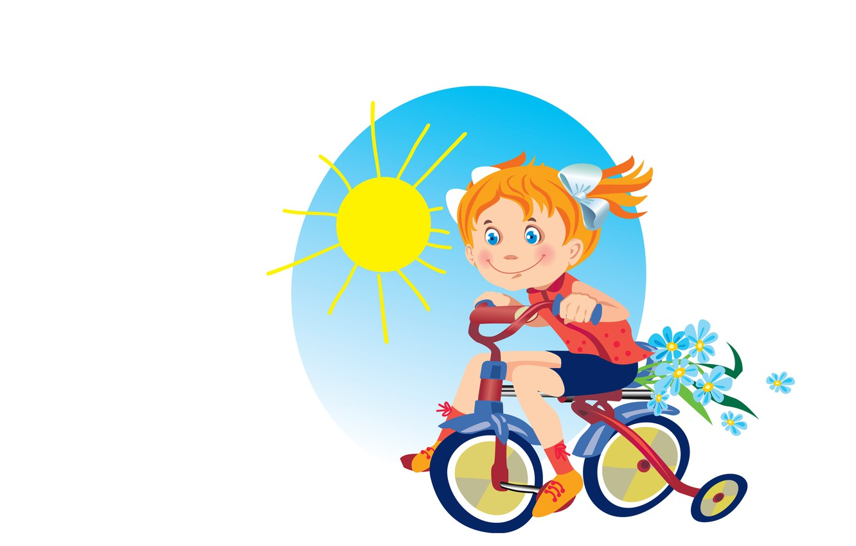 Photo wallpaper summer, the sun, bike, mood, art, girl, walk, children's