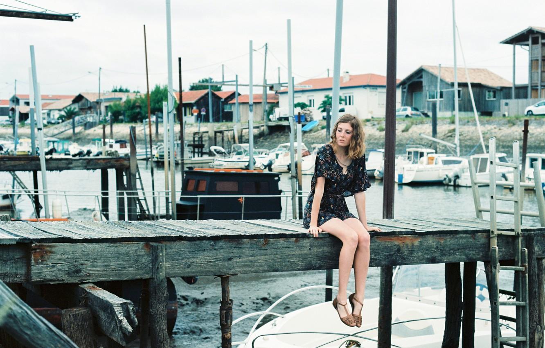 Photo wallpaper girl, dress, boats, pier
