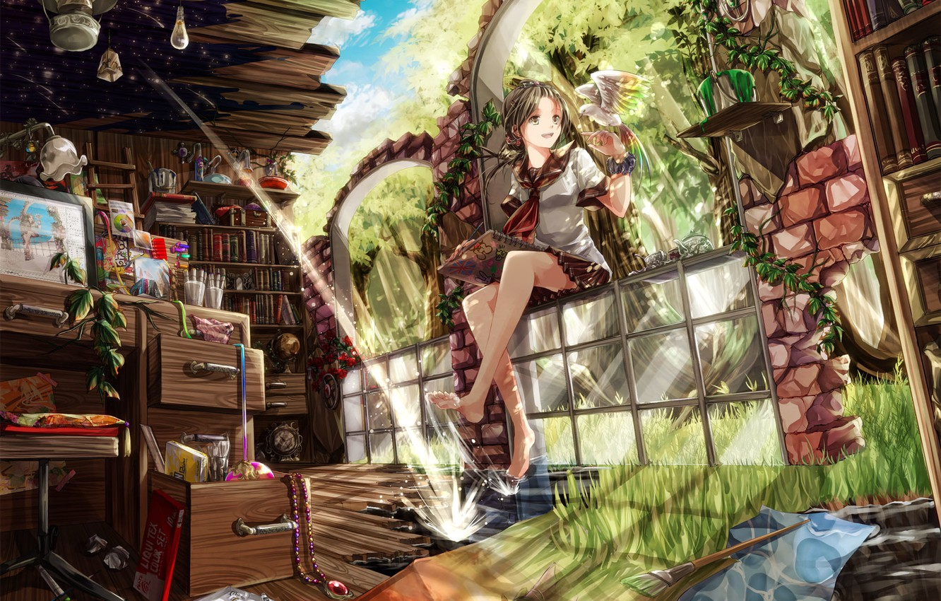 Photo wallpaper the sky, glass, water, girl, clouds, trees, nature, table, lamp, bird, books, plants, anime, art, …