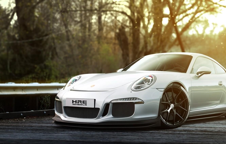 Photo wallpaper 911, Porsche, white, GT3, front