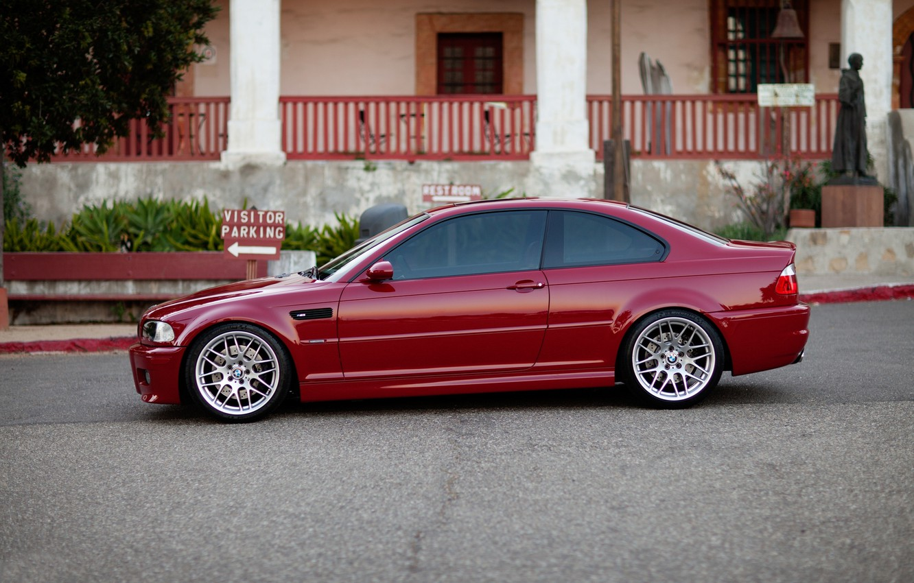 Photo wallpaper red, the building, Windows, bmw, BMW, index, profile, red, e46