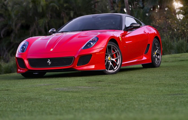 Photo wallpaper Ferrari, red, 599, GTO, front