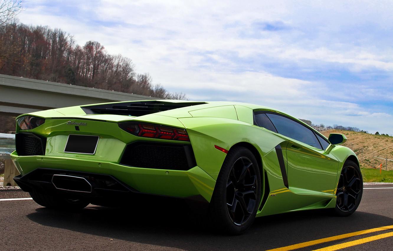 Photo wallpaper road, the sky, green, back, LP700-4, aventador, Lamborghini Aventador