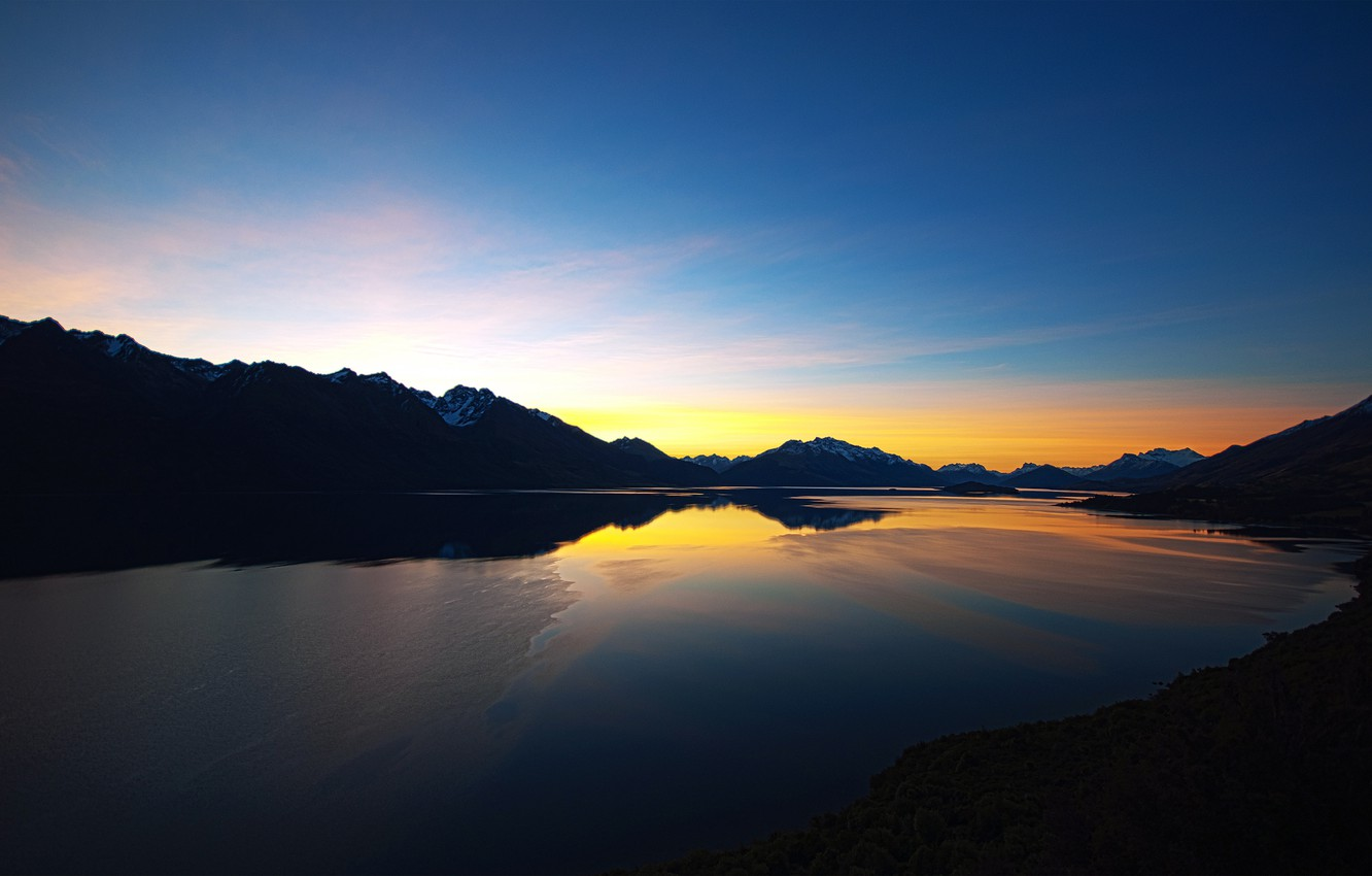 Photo wallpaper the sky, clouds, sunset, mountains, lake, the evening, New Zealand