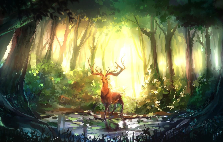 Photo wallpaper forest, trees, nature, art, Deer