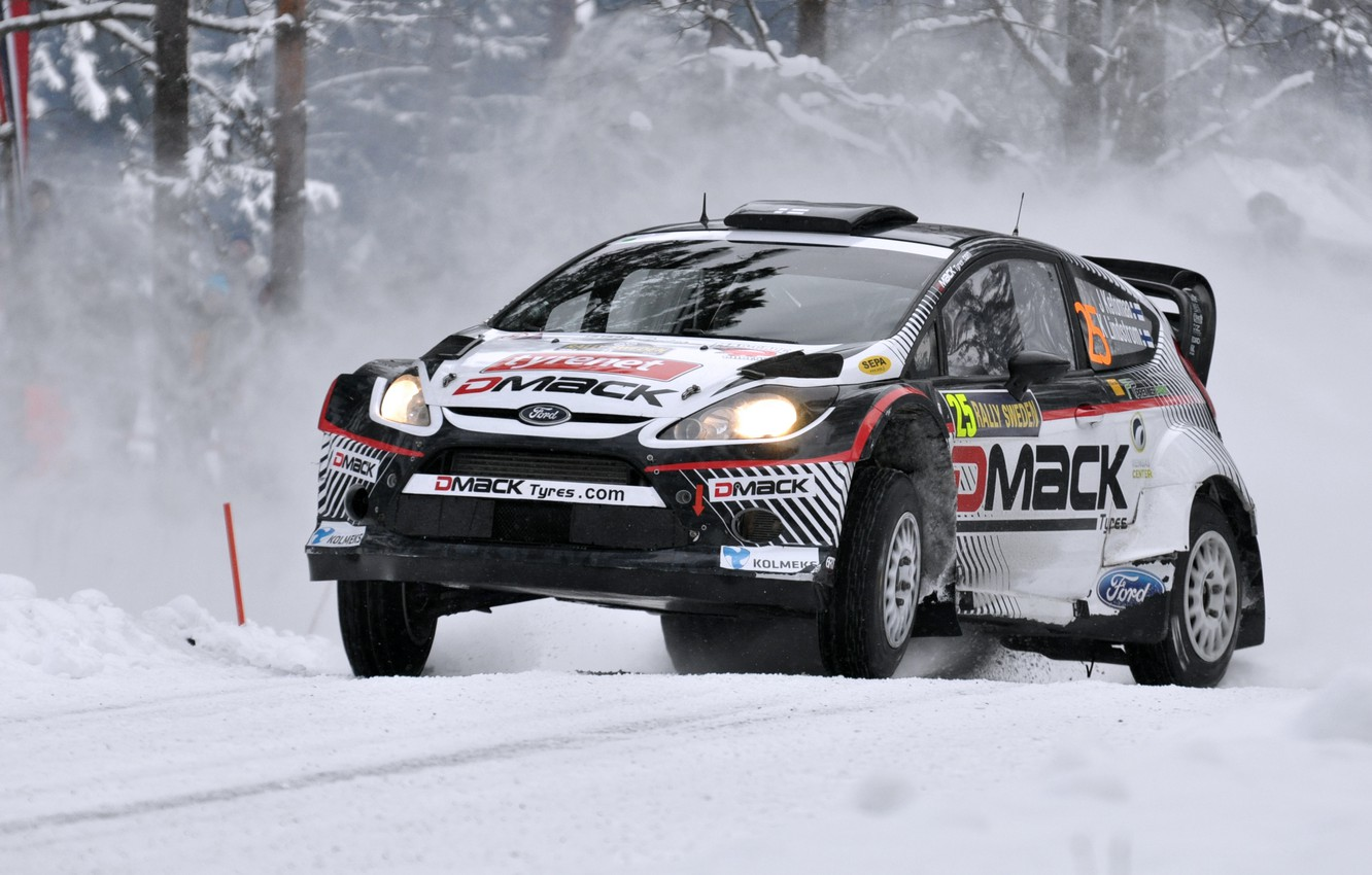Photo wallpaper Ford, Winter, Auto, Snow, Sport, Machine, Race, The hood, Lights, WRC, the front, Rally, Fiesta
