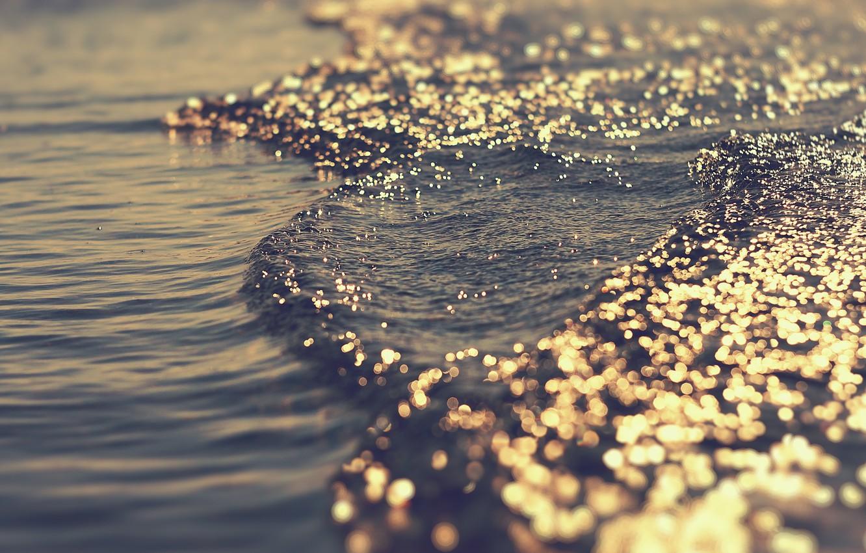 Photo wallpaper sea, wave, water, light, glare, the game, bokeh, overflow