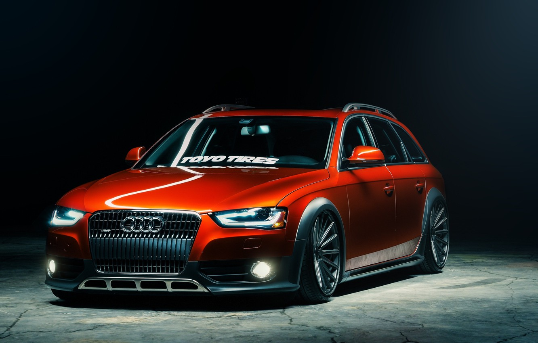 Photo wallpaper Audi, front, orange, Vossen, Toyo Tires