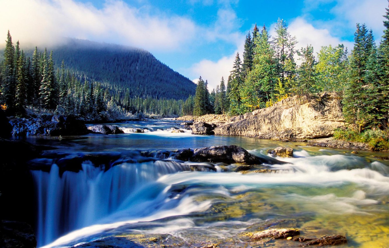 Photo wallpaper forest, water, mountains, river, stones, waterfall, ate, beautiful, pit, the ravine, dense
