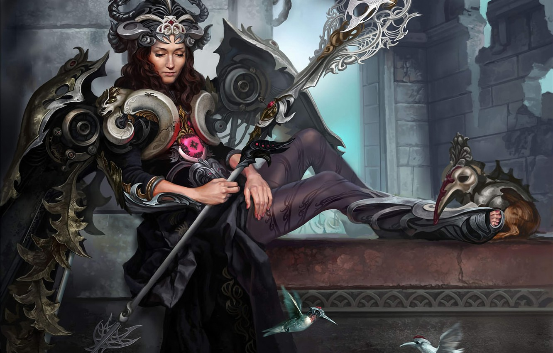 Photo wallpaper girl, birds, wings, armor, crown, Hummingbird, staff, Art, goddess