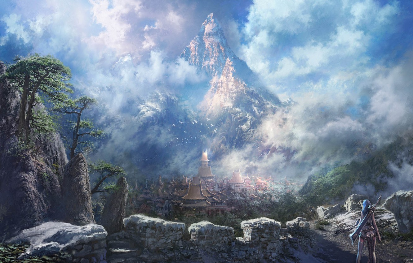 Photo wallpaper girl, the city, rocks, mountain, sword, blade and soul