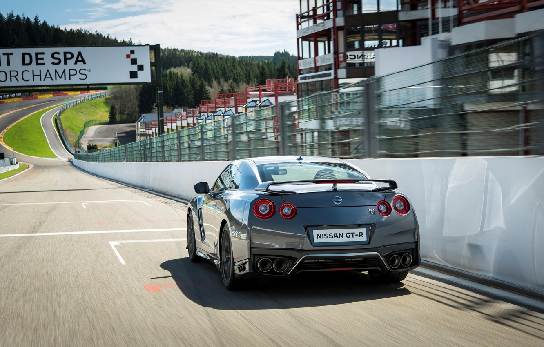 Photo wallpaper car, machine, speed, track, Nissan, GT-R, speed, track