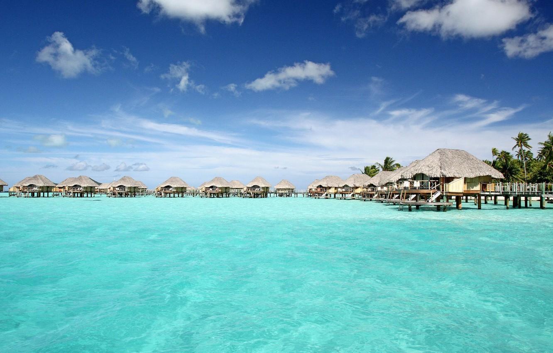 Wallpaper The Ocean The Hotel Bungalow Bora Bora