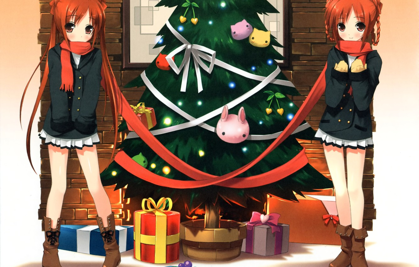Photo wallpaper Girls, New Year, Rabbits, Anime, Tree, Scarf, Gifts, Red, Twins, Bows