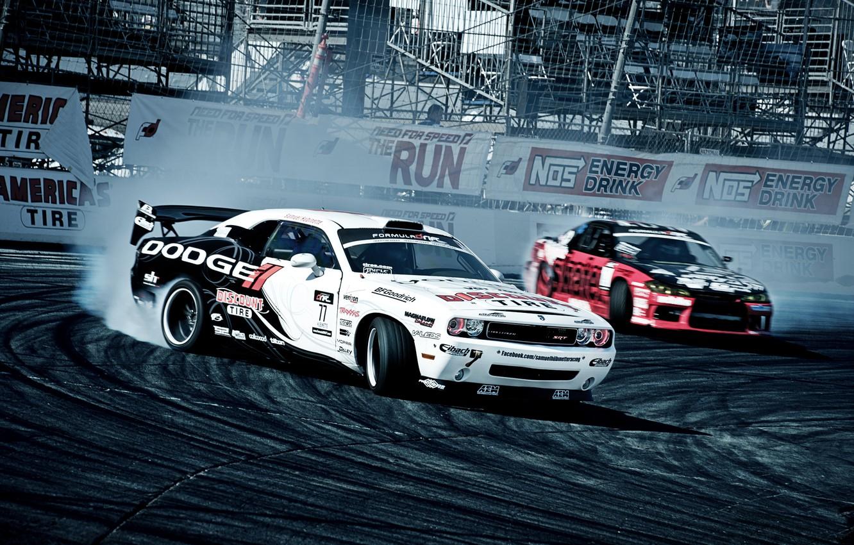 Photo wallpaper competition, smoke, show, Dodge, Challenger, drift, S15, Nissan, Dodge, Nissan, silvia, tribune, Sylvia, formula drift, …