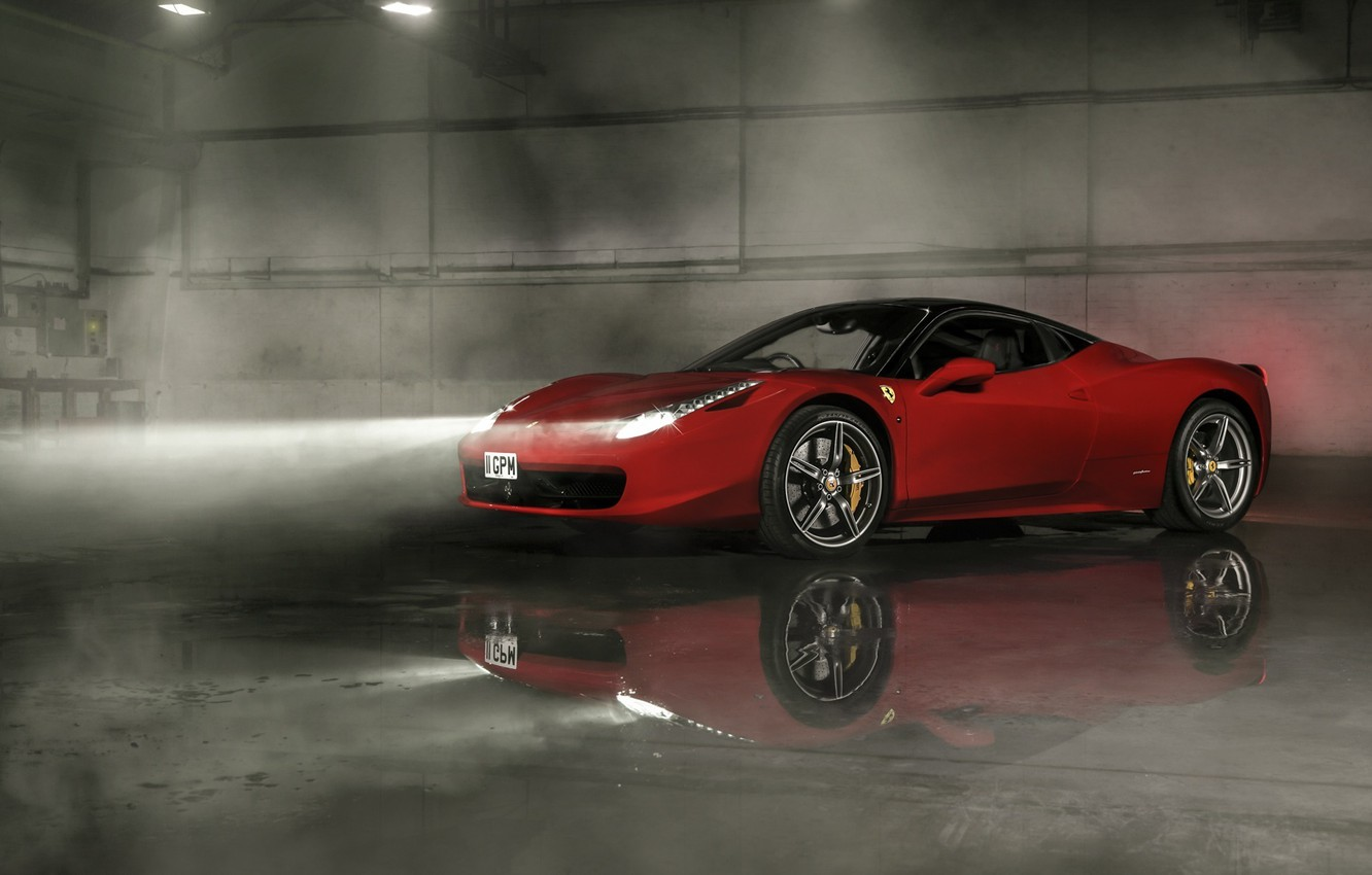 Photo wallpaper Ferrari, Red, 458, Front, Smoke, Italia, Wheels, Reflection, Ligth