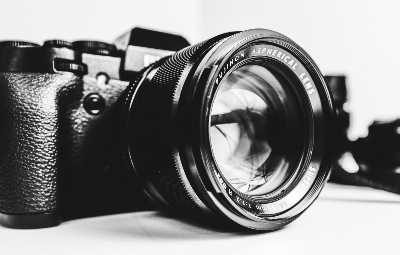 Photo wallpaper camera, black and white, lens, Fujifilm, b/w, Fujifilm X-T1