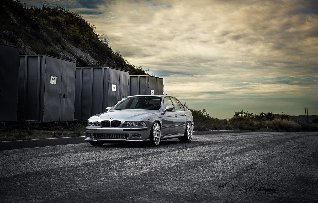Photo wallpaper road, blue, bmw, BMW, front view, blue, containers, e39