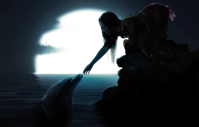 Photo wallpaper water, girl, birds, Dolphin, the moon