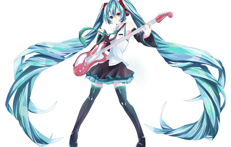 Photo wallpaper girl, smile, guitar, anime, headphones, art, microphone, vocaloid, hatsune miku