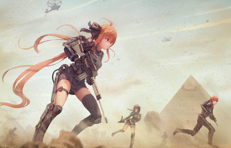 Photo wallpaper sand, weapons, girls, war, dust, guy, anime, art
