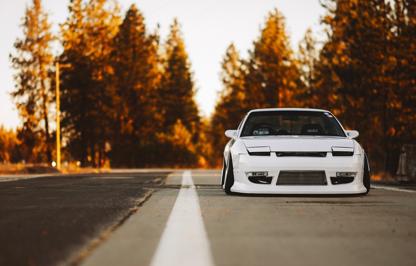 Photo wallpaper Nissan, Car, Nature, Front, Yellow, Stance, 240SX, Low
